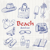 Vector collection of summer elements in sketch style on paper Stock Photo