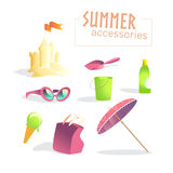 Vector collection of summer holiday sea resting accessories  on white background. Royalty Free Stock Photography