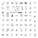 Vector collection Summer Icons. doodle illustration Royalty Free Stock Photography