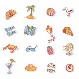 Vector collection Summer Icons. doodle illustration Royalty Free Stock Image