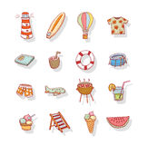 Vector collection Summer Icons. doodle illustration Royalty Free Stock Photos