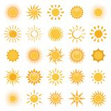 Vector collection of sun icons on white background. Vector set of sun icons on white background Royalty Free Stock Images