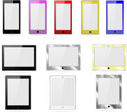 Vector collection of tablets, and phones on a white background. Vector collection of tablets and phones on a white background Royalty Free Stock Photography