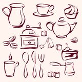 Collection of tea coffee and cakes silhouettes Royalty Free Stock Photos