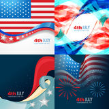Vector collection 4th of july american independence day. Background with wave stock illustration