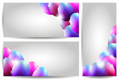 Vector Collection of Three Easter Cards with Purpl. E Eggs and place for text Royalty Free Stock Photo