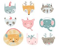 Vector collection with tiny animal faces in winter costumes. Emo. Ji. Cat, fox, raccon, panda, pig, elephant, lion, rabbit and bear Cartoon style stock illustration