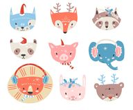 Vector collection with tiny animal faces in winter costumes. Emo. Ji. Cat, fox, raccon, panda, pig, elephant, lion, rabbit and bear Cartoon style royalty free illustration