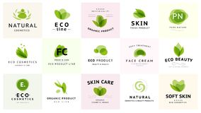 Vector collection of transparent beauty, eco cosmetics and healthy treatment symbols in green colors isolated on white background. Perfect for cosmetic, skin Royalty Free Stock Image