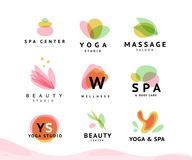Vector collection of transparent beauty, spa, and yoga symbols in light colors isolated on white background. Perfect for massage saloon, wellness and health royalty free illustration