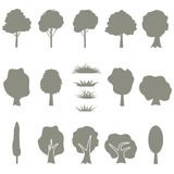 Vector collection of tree silhouettes isolates Stock Photos