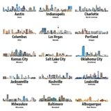 Vector collection of United States cities skylines icons stock illustration