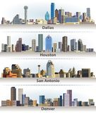 Vector collection of United States city skylines: Dallas, Houston, San Antonio and Denver Royalty Free Stock Photo