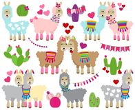 Vector Collection of Valentine`s Day Themed Llamas with Cactus stock illustration