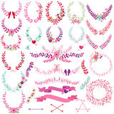 Vector Collection of Valentine's Day or Wedding Themed Laurels vector illustration