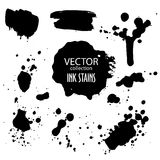 Vector collection of various ink splatter and grunge banner Stock Image
