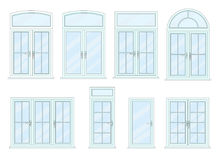 Vector collection of various windows types. Vector collection of various modern windows types. For interior and exterior use. Flat style Royalty Free Stock Photos