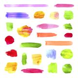 Vector Collection of Vibrant Color Different Watercolor Spots and Brush Strokes, Isolated. royalty free illustration