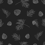 Vector Collection of Vintage Chalkboard Style Christmas Holiday Florals Stock Photography