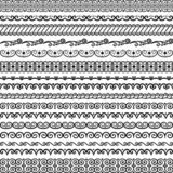 Vector collection of vintage endless borders. Brushes included in the file. Vector collection of vintage endless seamless brushes for frames, borders, braid vector illustration
