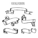 Vector collection of vintage hand drawn ribbons Stock Images