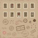 Vector collection of vintage post stamps for St. Valentine day Stock Photo