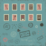 Vector collection of vintage post stamps for St. Valentine day Royalty Free Stock Photography