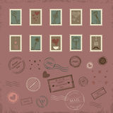 Vector collection of vintage post stamps Royalty Free Stock Image