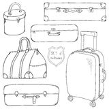 Vector Collection of vintage sketch suitcases. Stock Photos