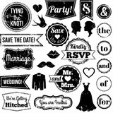 Vector Collection of Vintage Wedding Themed Badges and Stamps. Vector Collection of Textured Vintage Wedding Themed Badges and Stamps stock illustration