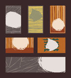 Vector collection of vivid colored business vertical and horizontal cards and banner, hand drawn with liquid ink and brush, with s Royalty Free Stock Photos