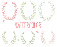 Vector Collection of Watercolor Style Laurels and Botanical Royalty Free Stock Photography