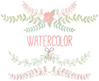 Vector Collection of Watercolor Style Laurels and Botanical Royalty Free Stock Images