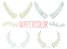 Vector Collection of Watercolor Style Laurels and Botanical Stock Photo