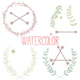 Vector Collection of Watercolor Style Laurels and Botanical Royalty Free Stock Photo