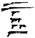 Vector collection of weapon silhouettes. On white royalty free illustration