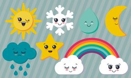 Vector collection of weather characters. Cute smiling faces sun, moon, star, rainbow, cloud, snowflake, rain drop. royalty free illustration