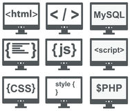 vector collection of web development icons: html, css, tag, mysql, curves, php, script, style, javascript - isolated on white