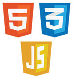Vector collection of web development shield signs: html5, css3 a Stock Images