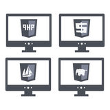 Vector collection of web development shield signs Royalty Free Stock Images
