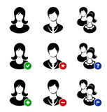 Vector collection of web icons. Set with symbolic. Images of human faces, woman, man, children, kids Stock Photos