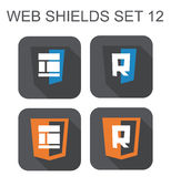 Vector collection of  web responsive design shield signs: layout Stock Image