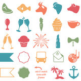 Vector Collection of Wedding and Party Themed Icons Stock Image