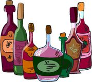 Vector collection of wine bottles. Illustration picture Stock Images