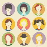 Vector collection of women avatars in flat style Stock Photos