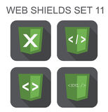 Vector collection of xml web development shield signs: xml, tag