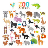 Vector collection of Zoo animals. Set of cute cartoon animals. Vector illustration stock illustration