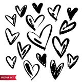 Vector collections of hand drawn grunge Valentine hearts isolated on white background. Vector collections of hand drawn grunge Valentine hearts isolated on royalty free illustration