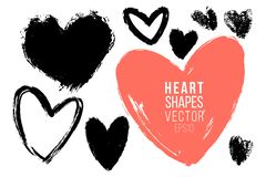 Free Vector Collections Of Hand Drawn Grunge Valentine Hearts Isolated On Transparent Background. Heart Symbol By Hand Royalty Free Stock Photography - 136644957
