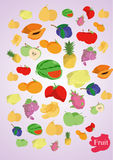 Vector coloful fruits Stock Photography